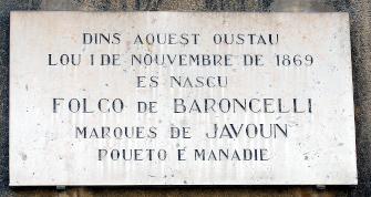 Anniversàri de la neissènço de Folco de Baroncelli